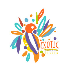 Exotic logo original design with colorful bird vector