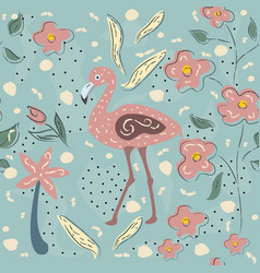 flamingo bird and toucan seamless pattern vector image