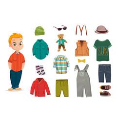 flat baby boy fashion icon set vector image