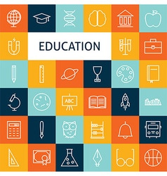 Flat Line Art Modern School and Education Icons vector image