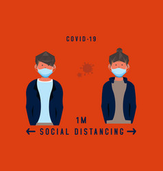 Flat social distancing coronavirus design vector