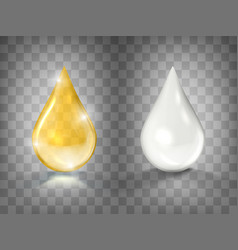 Gold oil and white cream drops isolated vector