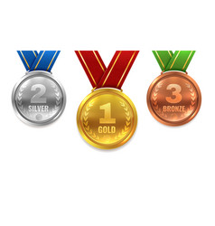gold silver bronze medals winner shiny circle vector image