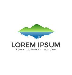 green mountain and town logo environmental vector image