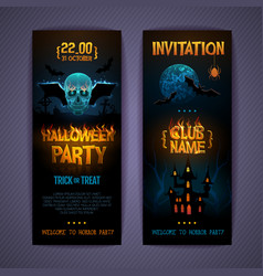Halloween disco party poster with burning letters vector