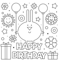 happy birthday coloring page vector image