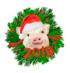 Happy new year banner 2019 animal symbol tex vector