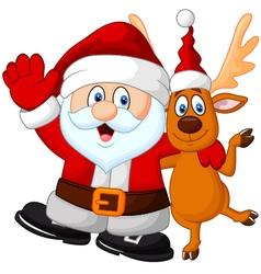 Happy Santa and deer vector