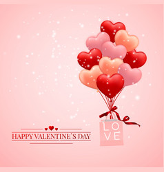 Happy valentines day background red pink and vector