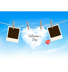 Heart shaped cloud on rope and photos valentines vector