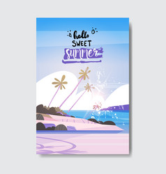 Hello sweet summer landscape palm tree beach badge vector