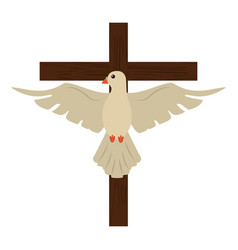 Holy spirit with cross sacred image vector