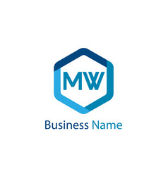 Initial letter mw logo template design vector