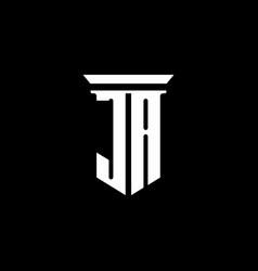 ja monogram logo with emblem style isolated vector image
