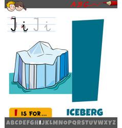Letter i worksheet with cartoon iceberg object vector