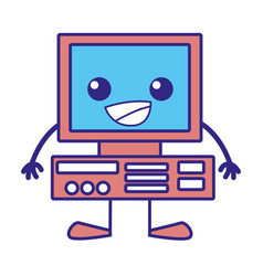 Line color happy computer technology kawaii with vector