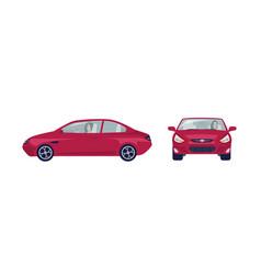 long haired brunette woman driving red sedan car vector image