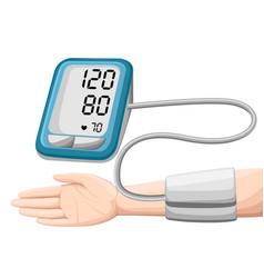 Man checking arterial blood pressure digital vector