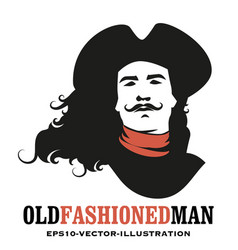 man mustached and long hair to wind wearing vector image