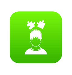 man with puzzles over head icon digital green vector image
