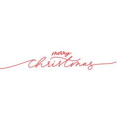 merry christmas brush pen red lettering vector image