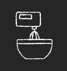 Mixer chalk white icon on dark background vector