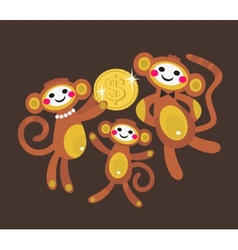 Monkey family with dollar vector image