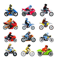 motorcycle set isolated on vector image
