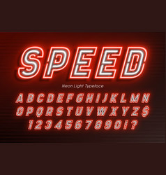 Neon light alphabet extra glowing font type vector