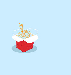 noodles ramen opened takeout box asian traditional vector image