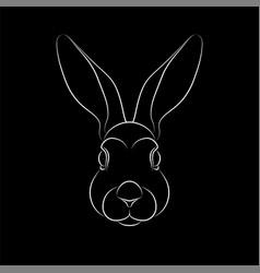 Outline stylized rabbit portrait on black vector