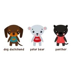 Panther and polar bear dog set of cartoon vector