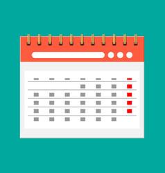 Paper spiral wall calendar calendar flat icon vector