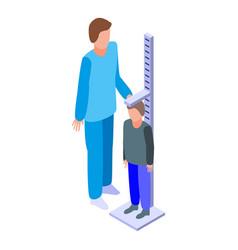 Pediatrician height measurement icon isometric vector