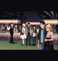 People having a night party outdoor vector