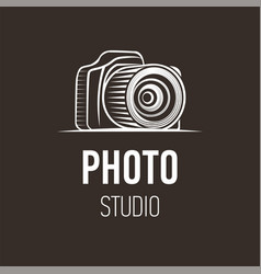 Photo camera silhouette symbol on dark background vector