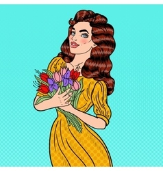 Pop Art Young Woman with Bouquet of Flowers vector