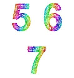Rainbow sketch font set - numbers 5 6 7 vector image