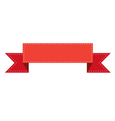 red ribbon banner sign red ribbon banner on white vector image