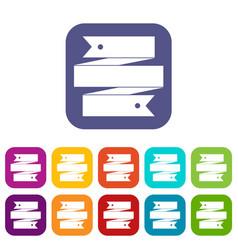Ribbon banner icons set vector