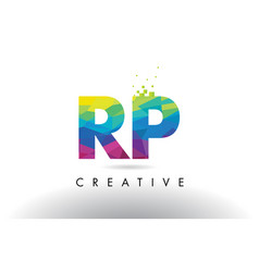 Rp r p colorful letter origami triangles design vector