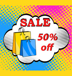 sale bags packages pop art retro black friday vector image
