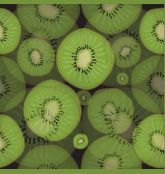 seamless pattern of fresh kiwi fruit on a black vector image