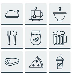 Set of 9 food icons includes chicken fry bowl vector