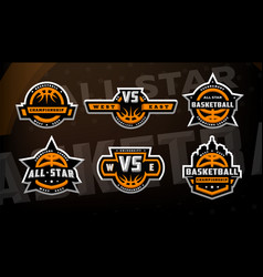 Set of basketball logos emblems labels on a dark vector