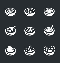set of food plate icons vector image
