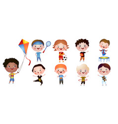 set of funny cute boys with different activities vector image