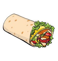 shaurma chicken roll vector image