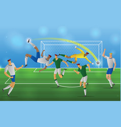 Soccer player in action overhead kick on stadium vector