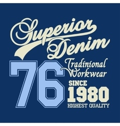 Superior denim logo workwear print vector image
